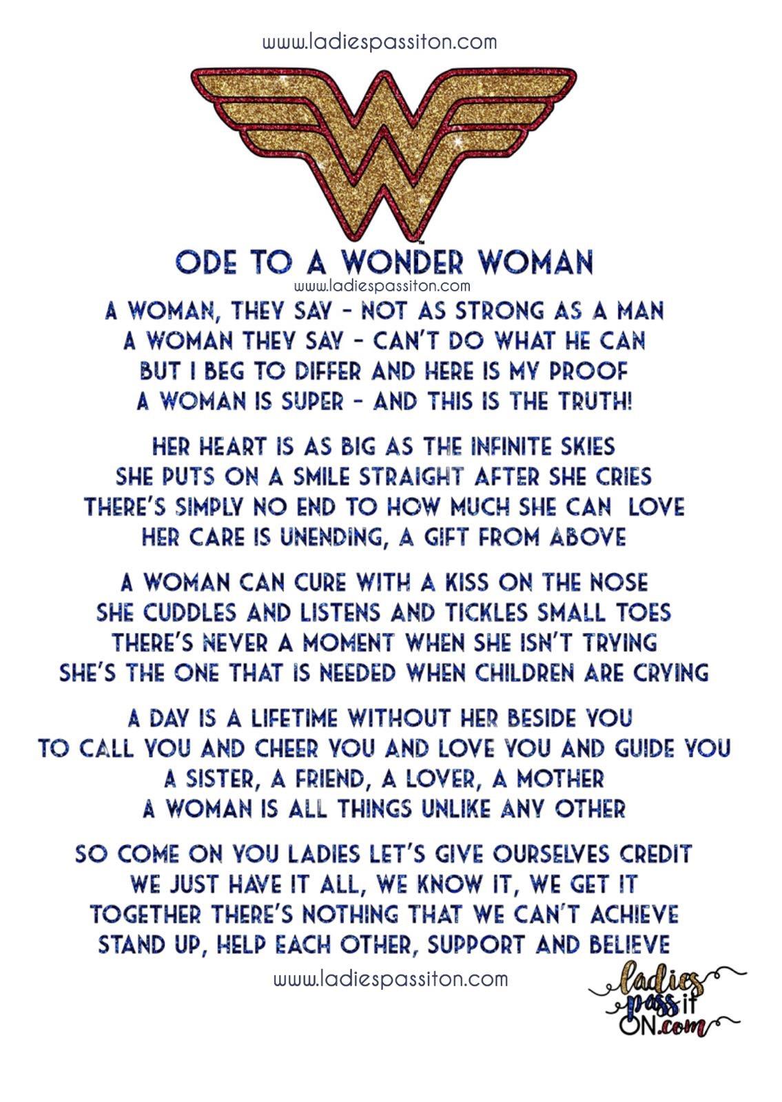 wonder woman poem/ ladies pass it on blog/ women poem