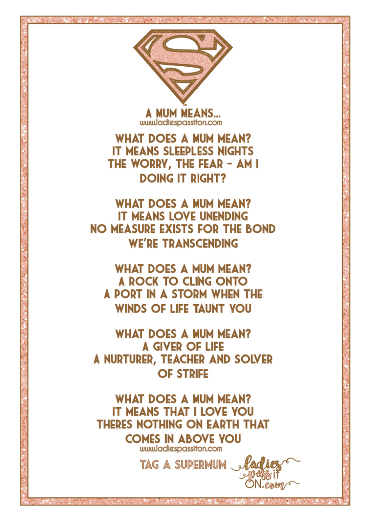 What does a mum mean/ poem/ Mothers Day